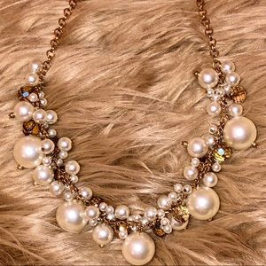 Jewelry - Pearls & Champagne Crystal Golden Baubles Necklace